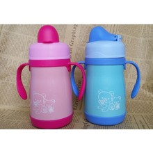 250ML Stainless Steel Keep Warm Baby Nipple Bottle Teat Water Bottle With Two Handles Cute Kids Tumbler