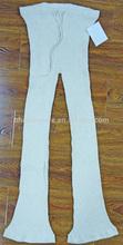 Señora moda algodón lino mezclado drawstring pit rayas pierna ancha largo tejiendo pantalones