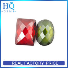 Wuzhou single check garnet rectangle cubic zircon cz gemstone