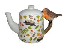 Shaped handle Ceramic Teapot, Robin
