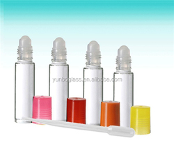 10ml glass roll-on bottles in clear, black, red, yellow, pink, blue, green and purple