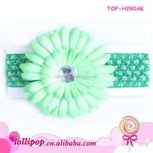 2015 High quality fashion girls headbands flower headband with diamond crochet light green headband