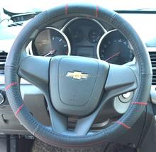 Top quality genuine leather steering wheel cover,2015 design genuine leather sewing steering wheel cover