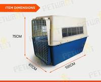 3 doors folding dog crate w/metal pan