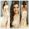 2015 Sexy Vestidos De Fiesta Sheath Sleeveless Lace Top Applique See-through Beaded Evening Dresses with Side Slit