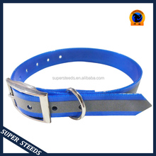 Dog collars with reflective strip glow in darkness