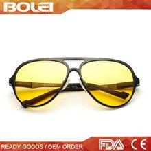 Aluminium lunettes de soleil populaires avec jaune nuit lunettes de Vision