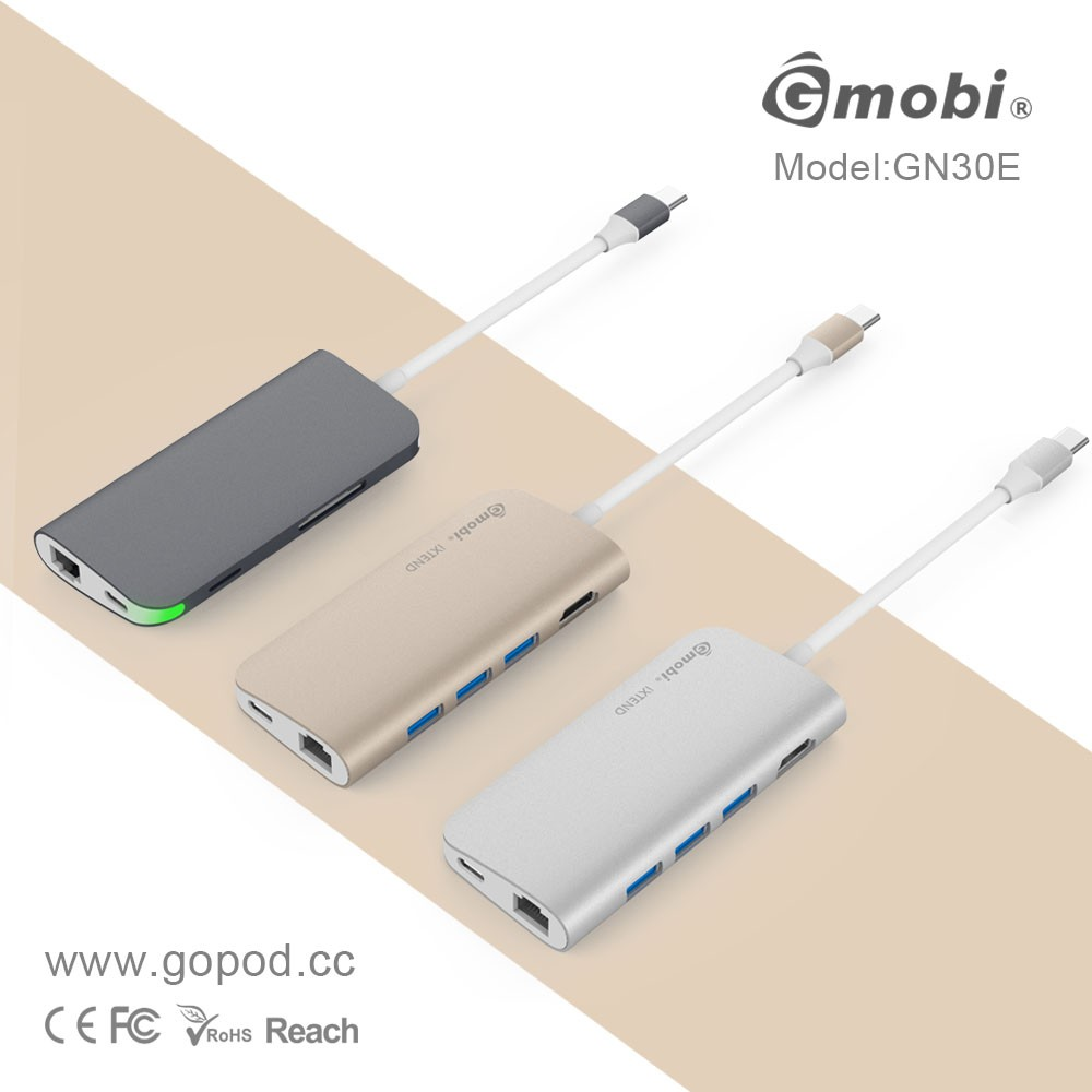 Gopod 2017 New 8 in 1 super power Ethernet Hub type c hub usb type c hub