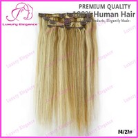 Long Colored Clip On Hair Extensions Natural Human hair