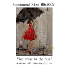 Professional Artist 100%Hand-painted High Quality Abstract Palette Knife Fine Art Red Dress In The Rain Painting For Living Room