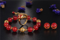 Popular latest stainless steel jewelry sets, colorful Natural Agate 18K gold bracelet and earring and ring stud steel