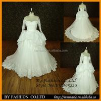 Elegant women bridal dress Ball Gown Long sleeves Bow Tiered Floor Length Organza galina wholesale wedding dress