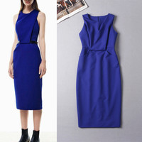 2015 Summer New Fashion Runway Women's Elegant Vest Bright Blue Pockets Elastic Midi Office Dress