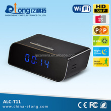 Hot new product AP function, no need internet, 100 degree wide angle, 1.0MP 720P HD, table clock wifi camera(ALC-T11)