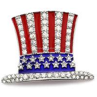 Custom Zinc Alloy Rhodium Plated Enamel Crystal Hat Shape American Flag Brooch Pins