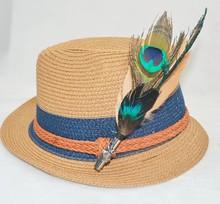 peacock feather hat pin brooch headgear