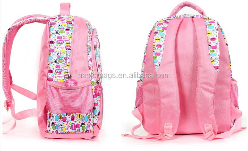 Nouveau Design de couleur rose derniers sacs d'école pour fille