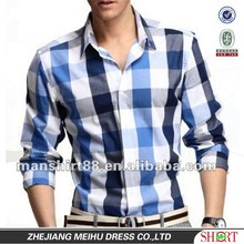 slim fit 100% cotton long sleeve checker man's casual shirt