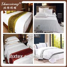 Full white cotton plain hotel sheet sets