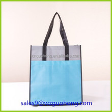 Reusable glossy laminated blank non-woven cloth shopping & Grocery Bags with pocket outside