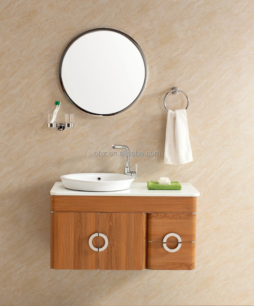 stainless steel wooden pattern decorative bathroom vanity cabinet with