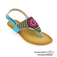little girls flat comfortable slingback thong beaded Pu upper latest fashion fancy sandals