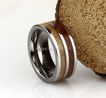Hot Sale thumb ring wood inlay men tungsten finger rings