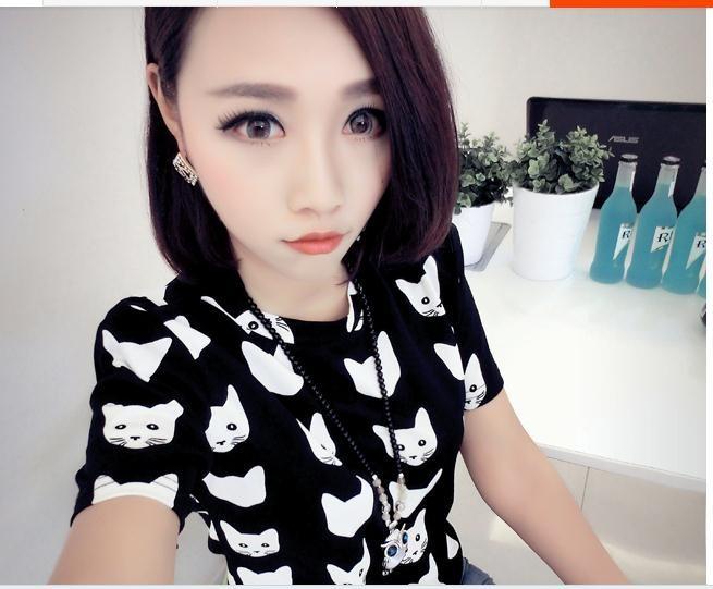женщины милые короткие o шея мультфильм кошки шифона блуза a603b-1-9504
