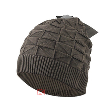 new fashion diamond knitting pattern mens beanie skull cap