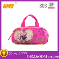 Sweet cartoon princess travel leather cosmetics bag case with handle makeup bag case organizer toiletry bag