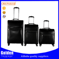 3 pieces 20 24 28 inch genuine leather luggage , high end travel luggage for business man