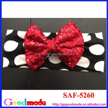 sequin bow headband cow printing headband whole sale