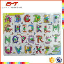 Wholesale wooden picture puzzle english word meaning learning toy for sale