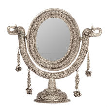 Vintage Home Decorative Items -White Metal Stand Mirror