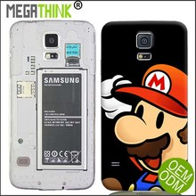 Customized Case for Samsung Galaxy S5 Replacement Battery Housing Back Cover Cartoon Pattern Mario