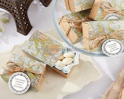 Around the World Map chocolate box wedding Favor Box baby baptism sonvenir candy box