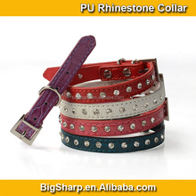 Alligator Leather Small Dogs Collar Gentle Handsome Dog Necklace Single Row Rhinestones Collar Dog Party Dress CS014P
