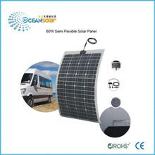 cheapest price per watt semi-Flexible 60W 18V power 12V battery Monocrystalline Solar Panel guangzhou factory direct sale
