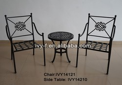 bistro 3pc. set coffee shop furniture wholesale/furniture coffee shop/cast aluminum table and chair for coffee shop