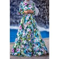 Latest Abaya Designs 2015 Floral Dress Muslim Long Sleeve Maxi Dress