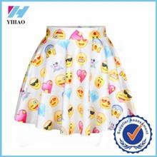 Yihao emoji falda impresa patrones estilos de escuela faldas moda 2015