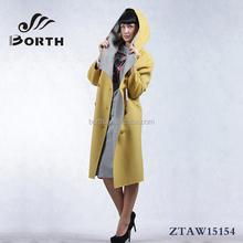 BORTH(R) Fashion Wool Cashmere Winter long coats yellow,beige women's Overcoat