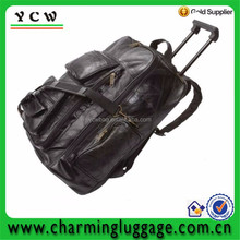 Brown leather fashion design Duffel trolley luggage