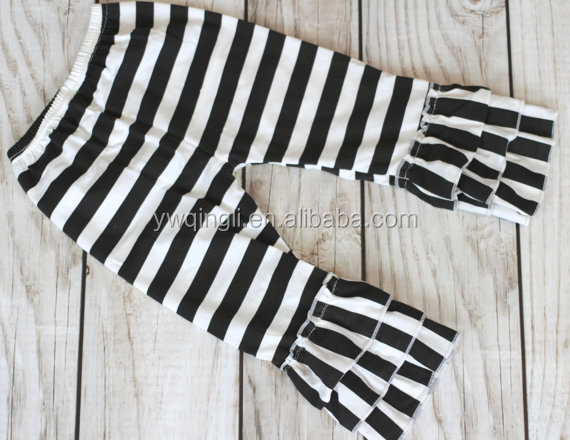 BLACK STRIPE Ruffle pants capris  Boutique ruffle leggings Baby Toddler Little Girl Ruffle Bottoms.jpg