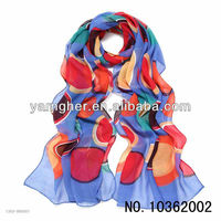 sapphire blue circle printed chiffon long scarf in stock