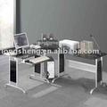 vidro temperado metal frame mesa de canto