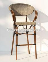 Patio Bamboo looked Bar Textiilene Chair outdoor Leisure Bar Chair