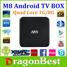 Hot sale ! original M8 Amlogic S802 Quad Core 1GB/8GB Android TV Box Kitkat 4.4 Smart TV Wifi Media Player With Remote Control