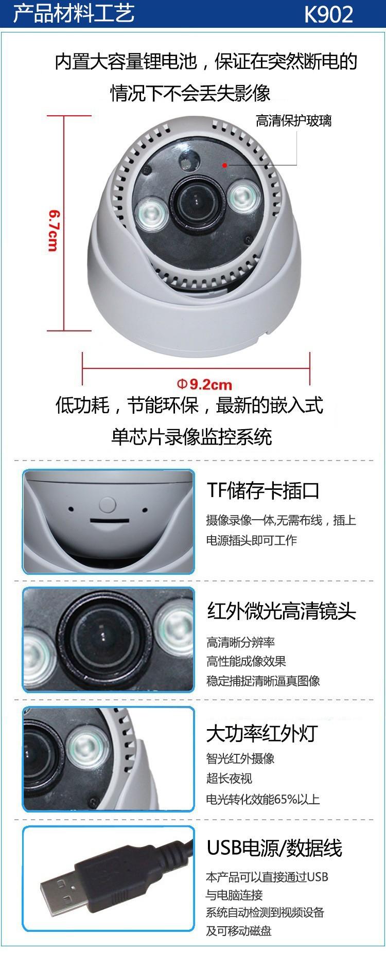 HD USB CCTV IR Camera DVR Recorder local storage Plug and Play Night Vision Dome Camera support 32GB TF card Loop recording