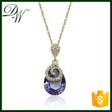 Crystal Fashion New Design unique pendant zircon necklace lucky stone necklace, platinum plated high quality necklace